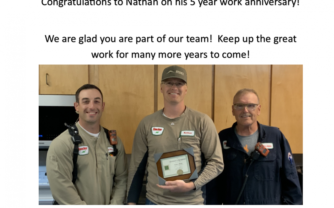 Congratulations to Nathan Mogen on his 5 year work anniversary with Sinclair Casper Refinery!